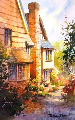 Cottage Lane, painting of England