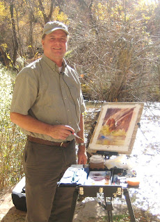 Roland Lee painting on location in Zion National Park during filming of Zion Centennial documentary film