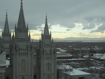 View from the top floor of the Joseph Smith Building in Salt Lake City