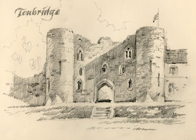 Sketchbook drawing of Tonbridge Castle Kent England