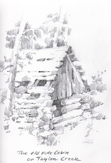 Roland Lee sketchbook drawing of Fife Cabin on Taylor Creek