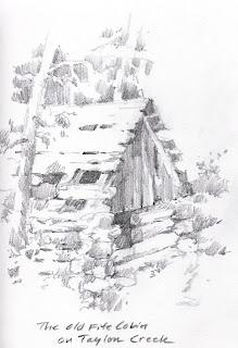 Roland Lee sketchbook drawing of Fife Cabin on Taylor Creek
