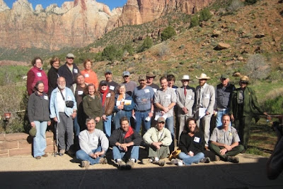 All 21 artists pose for a group photo at the Footsteps of Thomas Moran Invitational Paint out in Zion National Park
