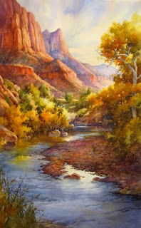 roland Lee painting of Zion National Park on display at Bingham Gallery in Mount Carmel Utah