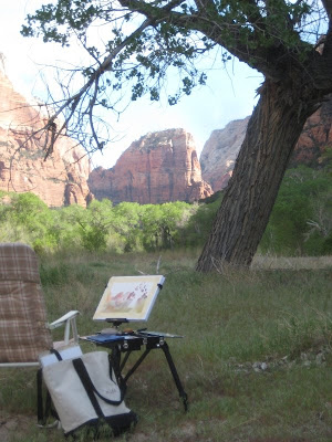 Roland Lee plein air painting in Zion Canyon