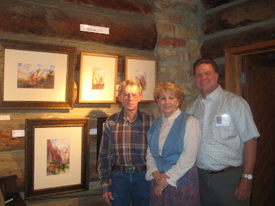 The Laycocks purchased Roland Lee painting Emerald Falls at the Footsteps of ThomasMoran Plein Air Exhibit