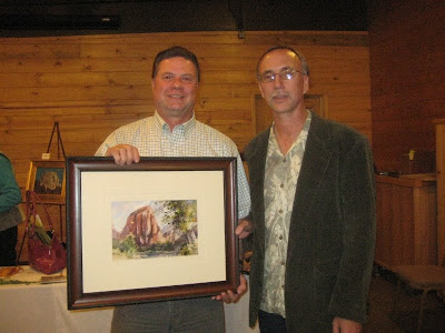 Zion Naitonal Park Superintendent Jock Whitworth purchased Roland Lee's plein air painting of Angel's Landing