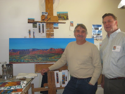 Roland Lee with artist Royden Card in his studio