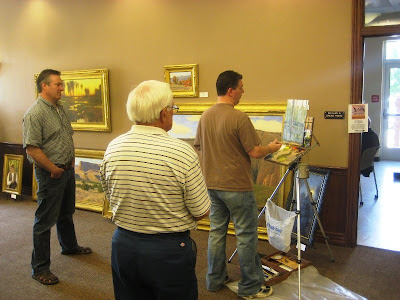 Keith Bond demonstrates painting aspen trees in oil