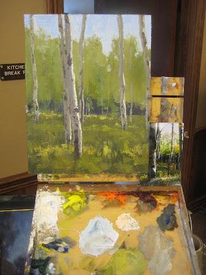 Keith Bond oil painting of Aspens