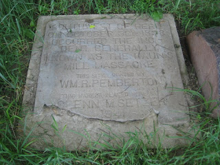 Photo of stone monument at Haun's Mill Massacre site