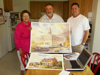 Grant Lee, Andrea Lee, and Roland Lee with new original paintings of places from their pioneer history