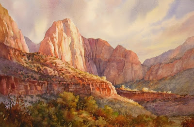 Five Mintes of Fame, painting of Zion National Park by Roland Lee