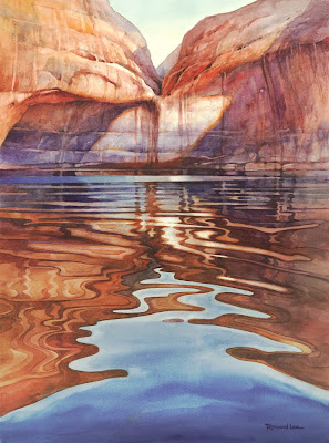Watercolor painting of Lake Powell by Roland Lee