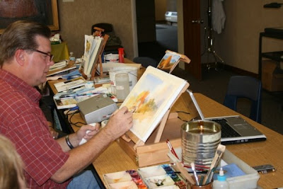 Roland Lee Doing a watercolor demonstration painting for the Cache Valley Watercolor Group