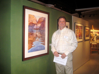 Roland Lee and his painting of Lake Powell which was accepted into the 90the annual NWS show in Long Beach CA