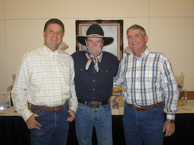 Roland Lee, cowboy poet Waddie Mitchell, and Lyman Hafen at the Arizona Strip Interpretive Association's annual dinner