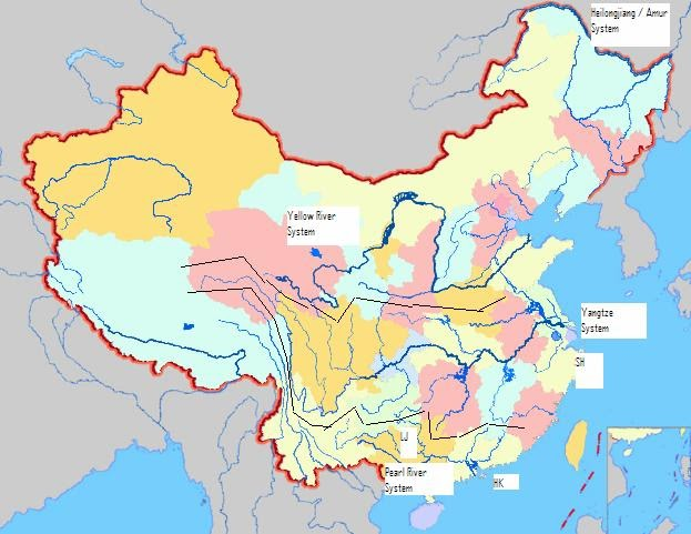 Sun Bin Chinas River System And The Painted Veil - China rivers map