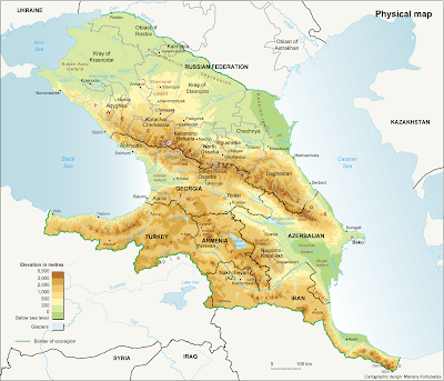 Sun Bin Maps Caucasus Georgia - Georgia map physical