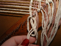 tie a knot to finish the fringe