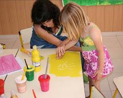 Rita e a educadora Berta