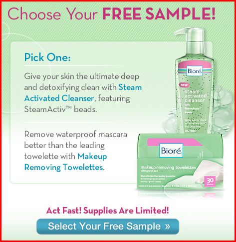 Free Sample Biore' Steam Cleanser or Makeup Towelettes-Expired
