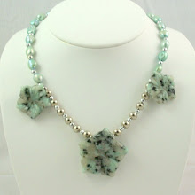 Beautiful Sesame Jasper with Pale Green Freshwater Pearls and Silver Beads