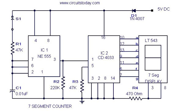 circuit theory  7 segment counter circuit