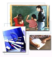 composición de tres fotografía, en la primera un profesor y dos estudiantes escribiendo en una pizarra, en la segunda reglas y escuadras, en la tercera un estudiante escribiendo en un cuaderno