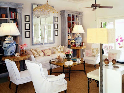 From Coastal Living Magazine Color Of The Bookshelves And Mirror Is Fantastic