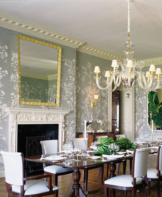 I love the wallpaper in this dining room by designer