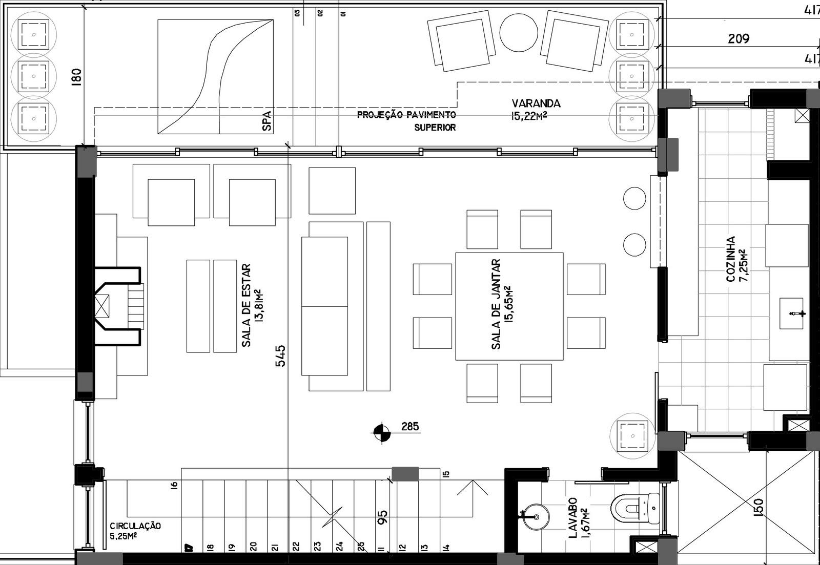No segundo pavimento está localizada a área social. Com ambientes  #0E0E0E 1600 1103