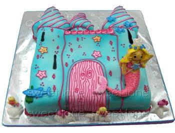 Underwater castle with mermaid cake