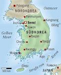 Korea auf der Landkarte