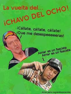 Juan Carlos I vestido de Kiko y Hugo Chavez del Chavo del 8