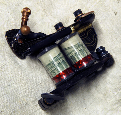 one of a series of handmade tattoo machines for sale. tribute to the paul