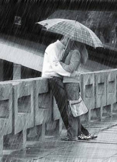 couple romance under umbrella