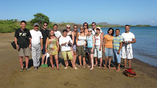 galapagos islands tour group on the beach
