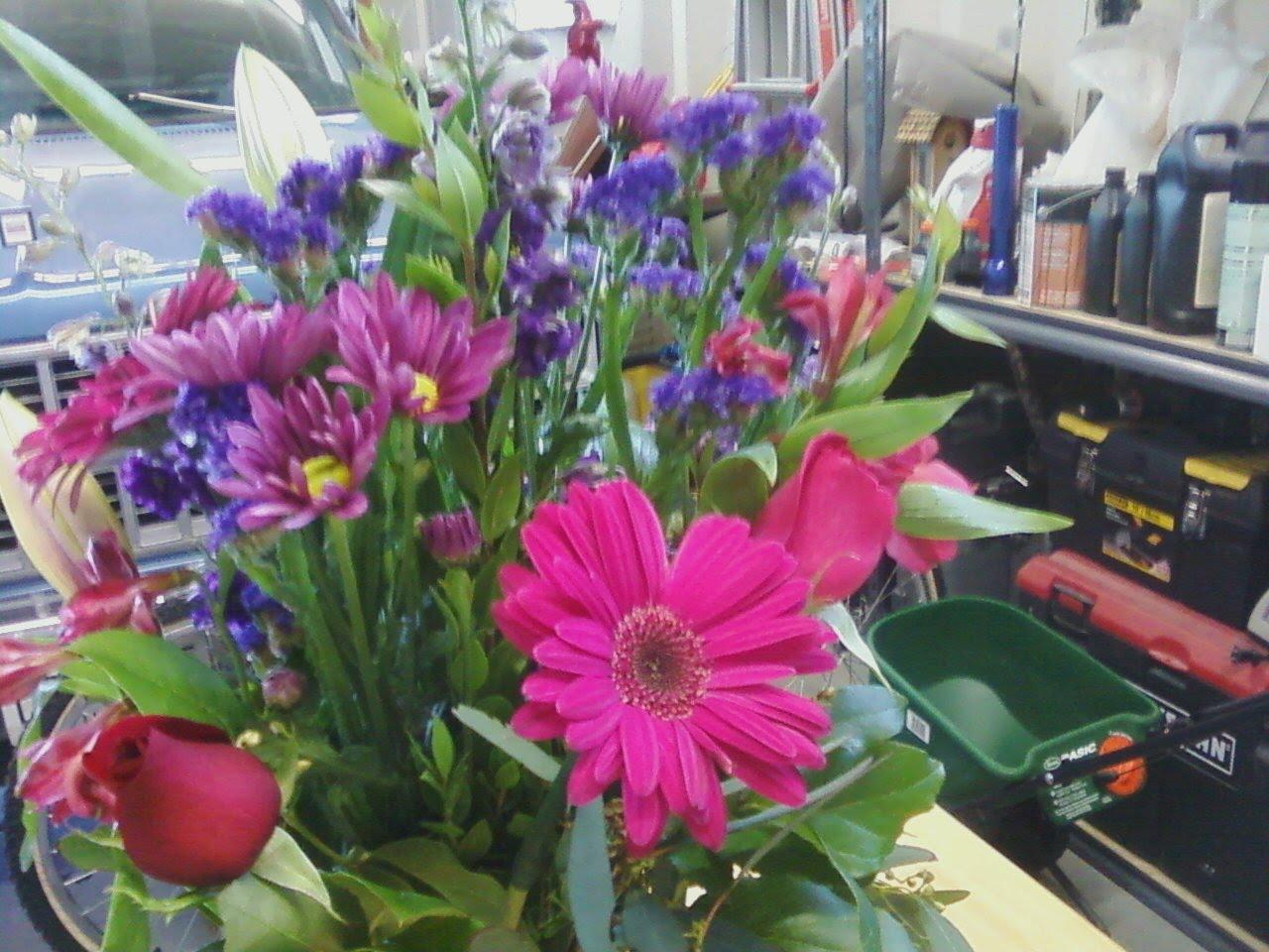 Emmies Hidden Floral Pink Purple Flower Arrangement