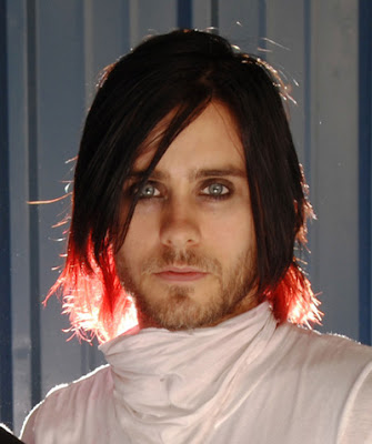 Jared Leto Hairstyles Jared with red streaks at the ends of his hair.