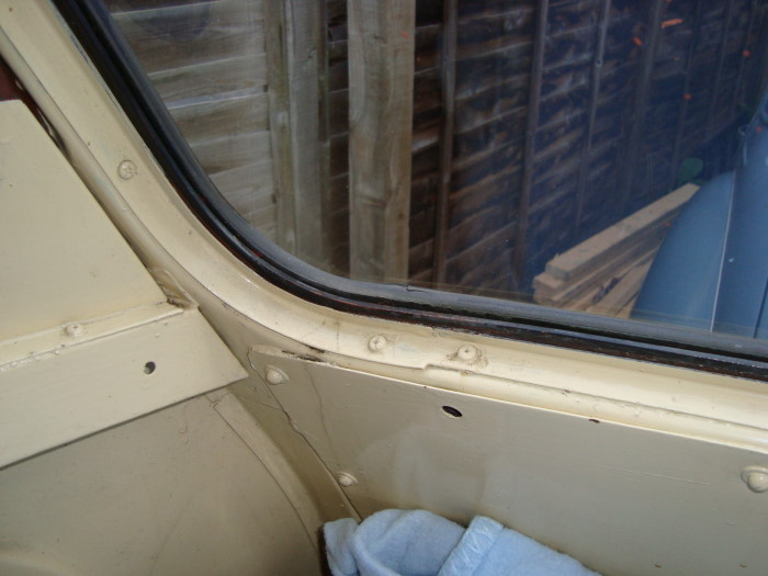 Inside cab view, water staining can be seen.