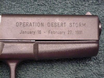 NWO Commemorative Glock 17 Pistol -- Issued To Top Brass During 'Desert Storm.' Click HERE, (Glock FAQ: 'Rare and Collectible Glocks' Website) For Details.