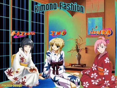 sakura, hinata, ino, kimono fashion