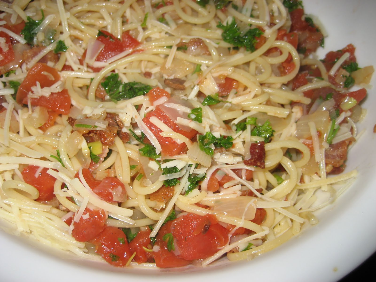Ballerina Breath Pasta With Tomato Bacon And Onion