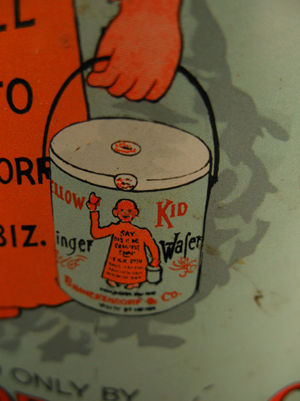 example of recursive imagery, yellow kid vintage tin