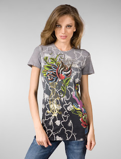 Christian Audigier Multi Tee Two Birds in Black