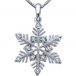 Ben Moss Jewellers Snowflake Diamond Pendant Necklace