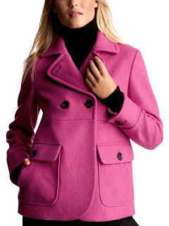 Gap Double-Breasted Peacoat in Raspberry Ice