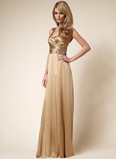 David Meister Nude Stretch Charmeuse Gown with Beading