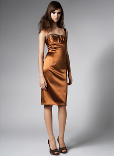 David Meister Copper Stretch Satin Cocktail Dress with Jewels